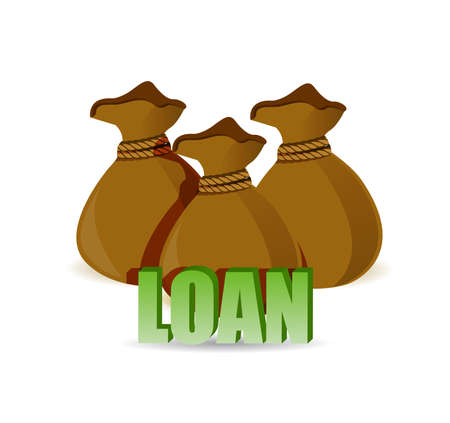 Money loan concept with money bags. illustration design graphic isolated over white Vettoriali