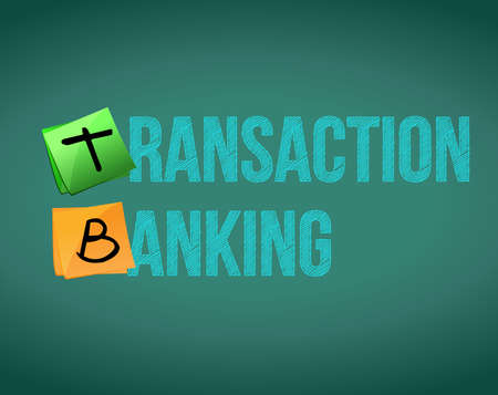 Transaction banking text written on a chalkboard. illustration design