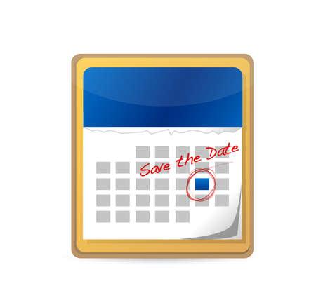 Bewaar de datum gemarkeerd op een kalender grafisch ontwerp.