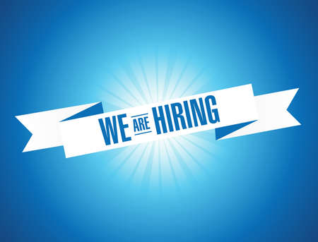 We are hiring. Illustration design graphic. Vintage ribbon. Banner illustration design.