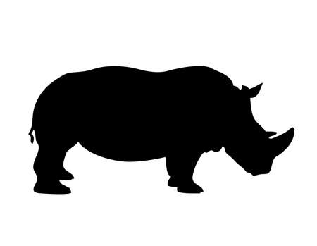 Rhino silhouette. Flat style. Illustration design graphic over white.