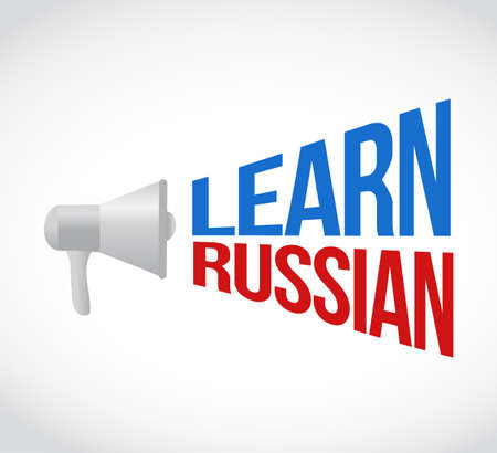 Learn Russian  loudspeaker message sign illustration design graphic over a white background