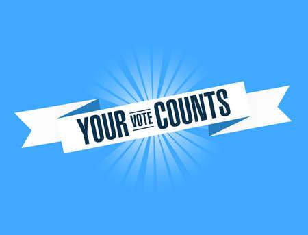 your vote counts, blue ribbon Illustration Design graphic. Vintage ribbon. banner illustration design