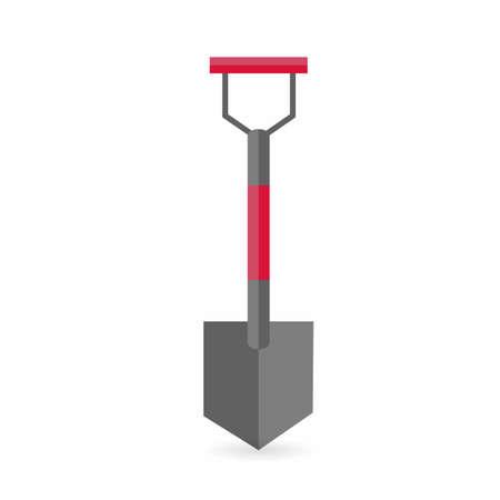 Red and grey shovel graphic design over a white background illustration. Ilustracja