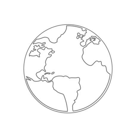 An isolated flat art of a world map sketched on silhouette white and gray illustration.