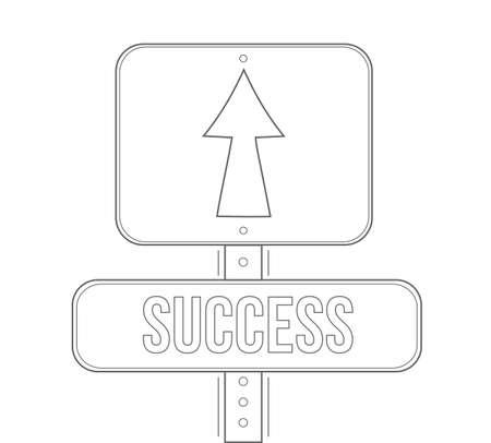 Success street sign line illustration design graphic. Ilustração