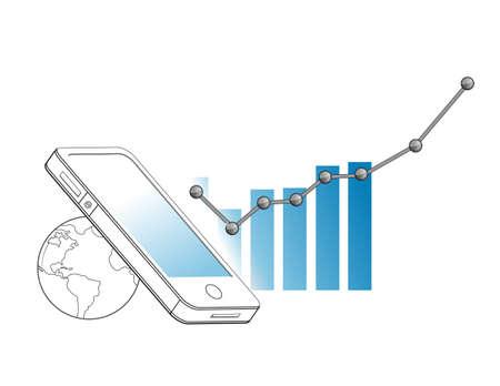 Business technology connection going up Line Illustrator. Illustration