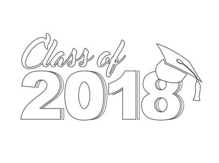 Class of 2018 line sign illustration.