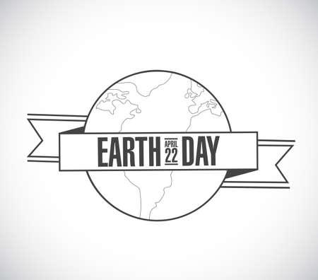 earth day line design sign stamp illustration. Иллюстрация