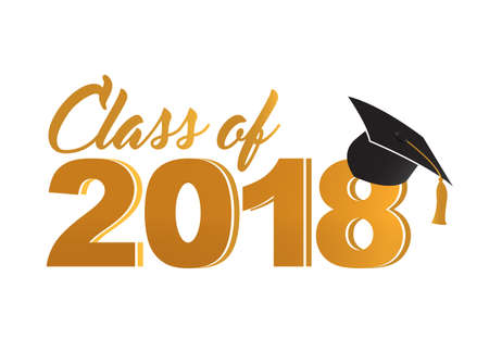 Class of 2018 golden sign illustration. 스톡 콘텐츠 - 98746192