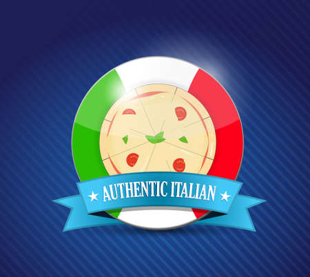 authentic Italian pizza and plate.  イラスト・ベクター素材