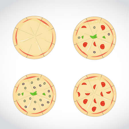 set of different pizza pies, graphic design. isolated over a white background Stock Illustratie