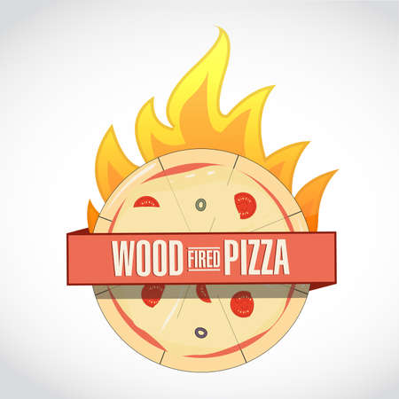 Wood fired pizza icon sign. Ribbon sign, graphic design. isolated over a white background