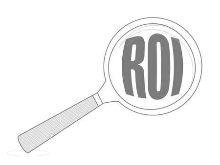 Roi magnifying glass concept Illustration.