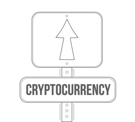 Cryptocurrency street sign concept, graphic design.