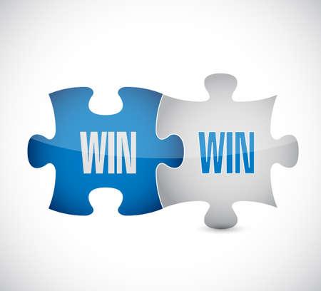 Double Win Puzzle Concept, graphic design. Ilustrace