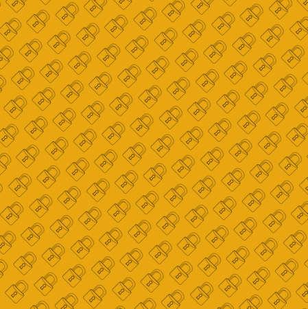 lock secure pattern line illustration graphic. orange background