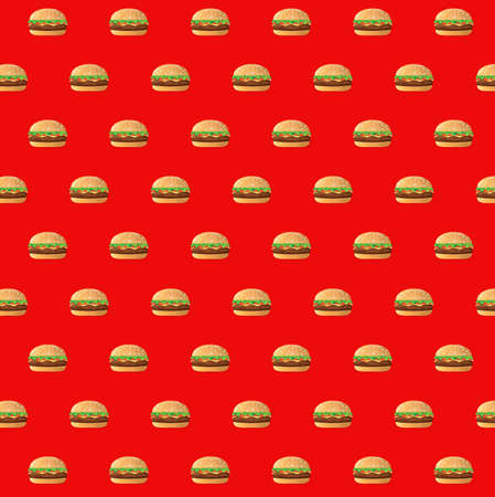 fast food burgers pattern illustration design isolated over a red background Illustration