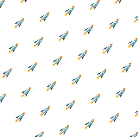 Carton space travel rocket concept pattern illustration graphic. Isolated over white background.  イラスト・ベクター素材