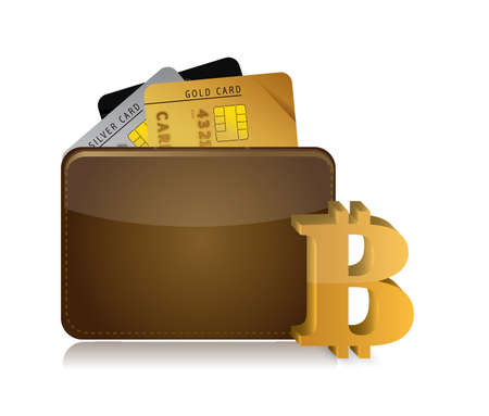 Bitcoin wallet illustration with credit cards icons on the digital white background.