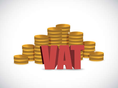VAT (Value Added Tax) on Stacked Coins with White Background. Illustration design