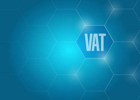 VAT diagram network concept illustration design graphic. over a blue background