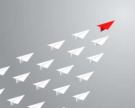 red paper plane leading white ones. leadership concept. illustration design graphic Vectores