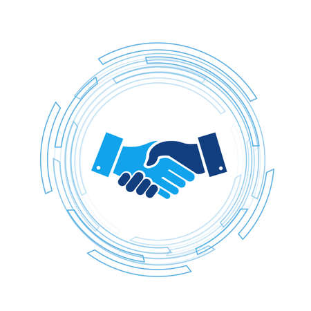 Business handshake over a tech turning circle over white background. 일러스트
