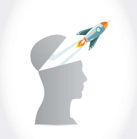 Rocket fly outside the head illustration design over white background.