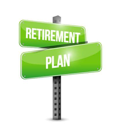 Retirement plan sign. Vector illustration design over white background. Illustration