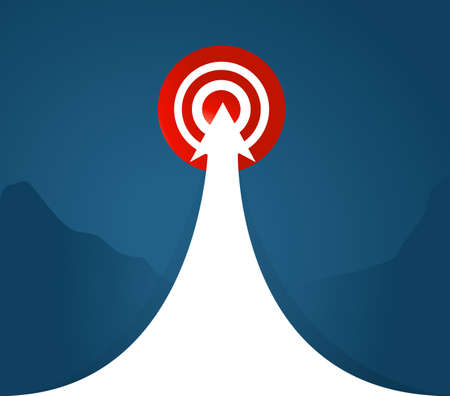 arrow to a target location over a blue background. concept graphic