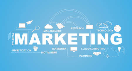 marketing text and infographic illustration over a blue background