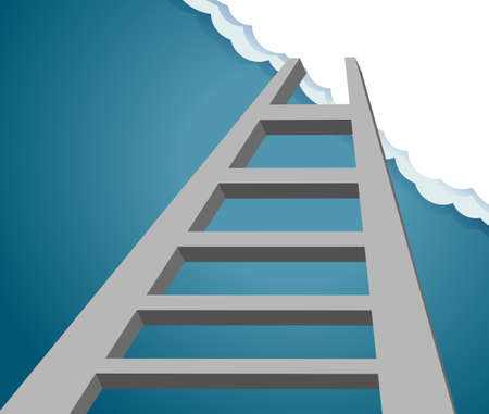 Ladder to the future. ladder to sky and cloud. progress and desire concept  Stock Illustratie