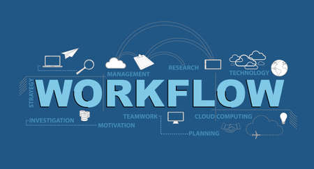 workflow text infographic design graphic concept over a blue background Stockfoto - 102001192