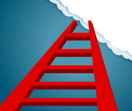 Ladder to the future. ladder to sky and cloud. progress and desire concept  Ilustracja