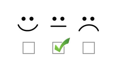 okay face check mark selection illustration options graphics. isolated over white Ilustrace