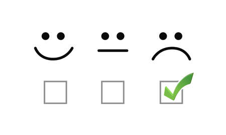 sad face check mark selection illustration options graphics. isolated over white