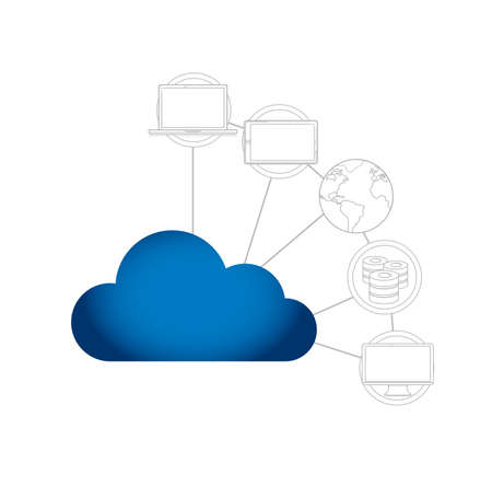 cloud technology network concept. line graphics over a white background