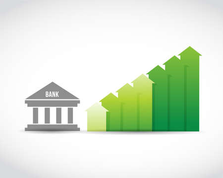 Bank and bar arrow graph. Business concept illustration design over a white background Illustration