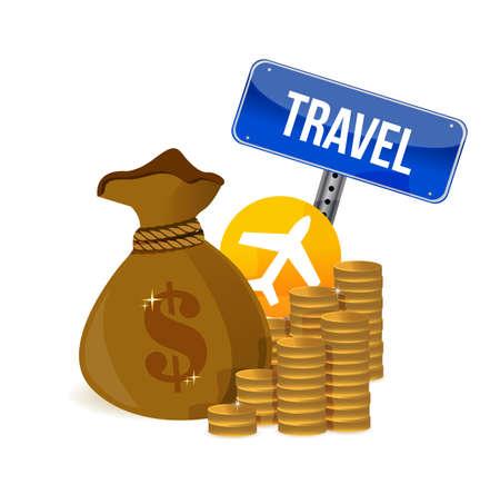 air travel money concept illustration design over a white background