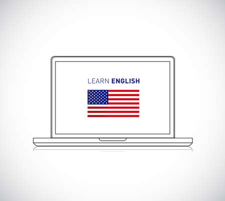 learn english online sign. Vector Illustration. isolated over white background