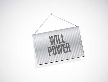 will power hanging. Vector Illustration. isolated over a white background