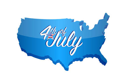 4th of july map sign. Vector Illustration. isolated over white background Stok Fotoğraf - 102810715