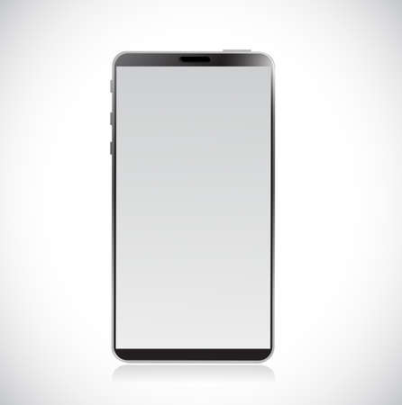 Black modern smartphone. Vector Illustration. isolated over white  イラスト・ベクター素材
