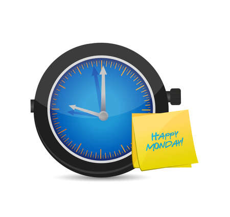 clock happy monday. Vector Illustration. isolated over white