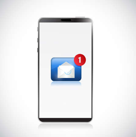New message on mobile phone. Concept. Vector Illustration. isolated over white