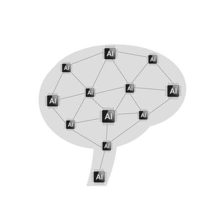 ai processor mind. vector illustration. isolated over a white background