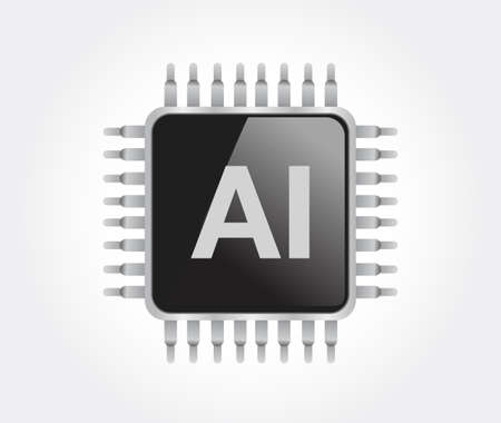 ai processor design graphic. Vector Illustration. isolated over white 일러스트