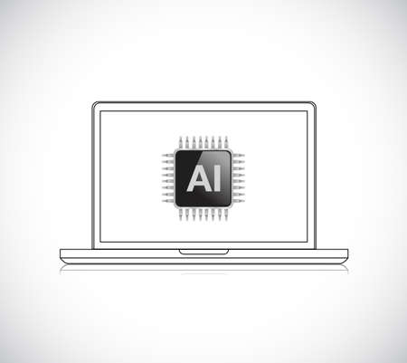 Processor with AI and computer. Vector Illustration. isolated over white