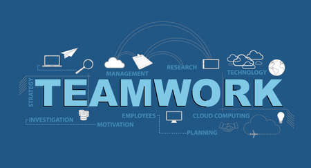 teamwork typography design graphic concept. Vector Illustration. isolated over white Illustration